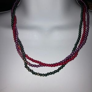 Vintage multi beaded necklace Red, purple & green